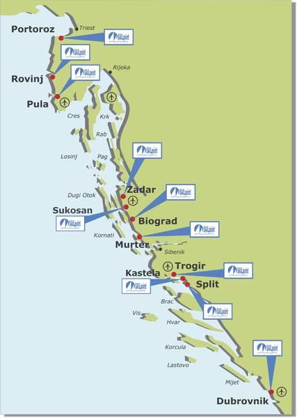 Karte Kroatien Pula.Yachtcharter Kroatien Rovinj Pula Zadar Sukosan Biograd